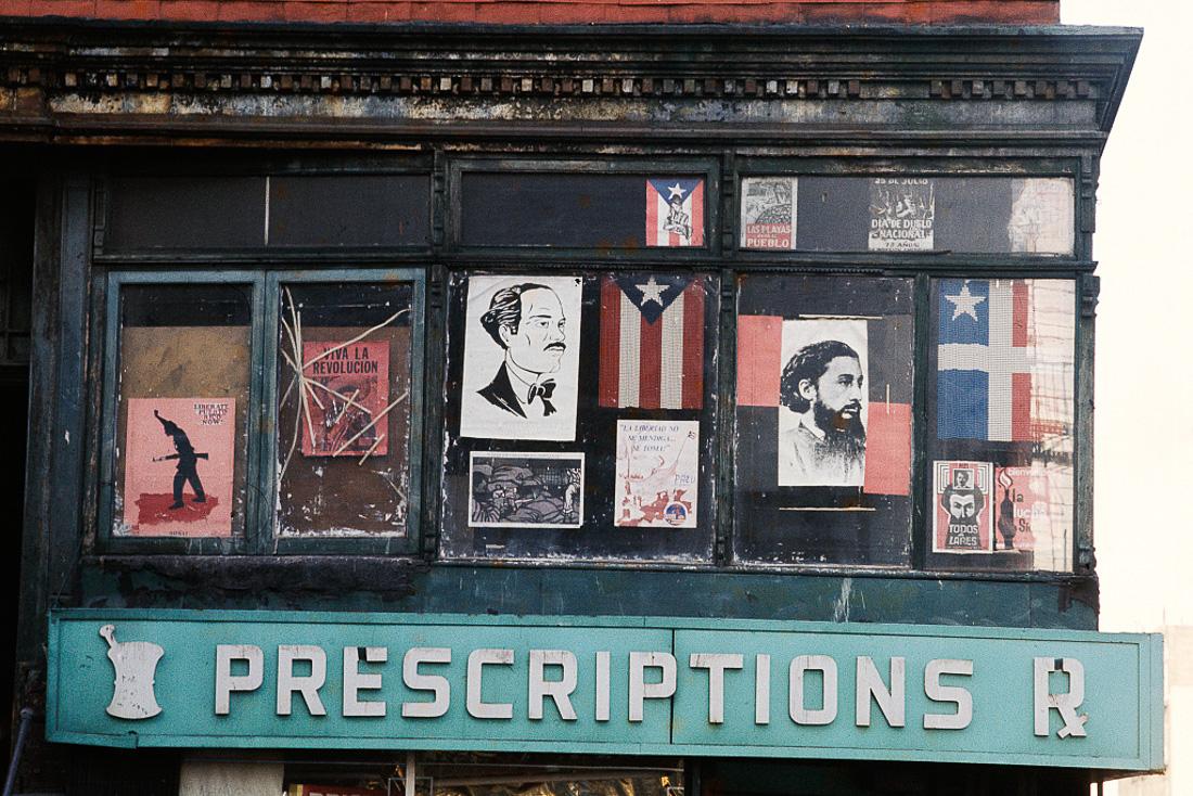 Militant display, Window, Bushwick Brooklyn, 1970