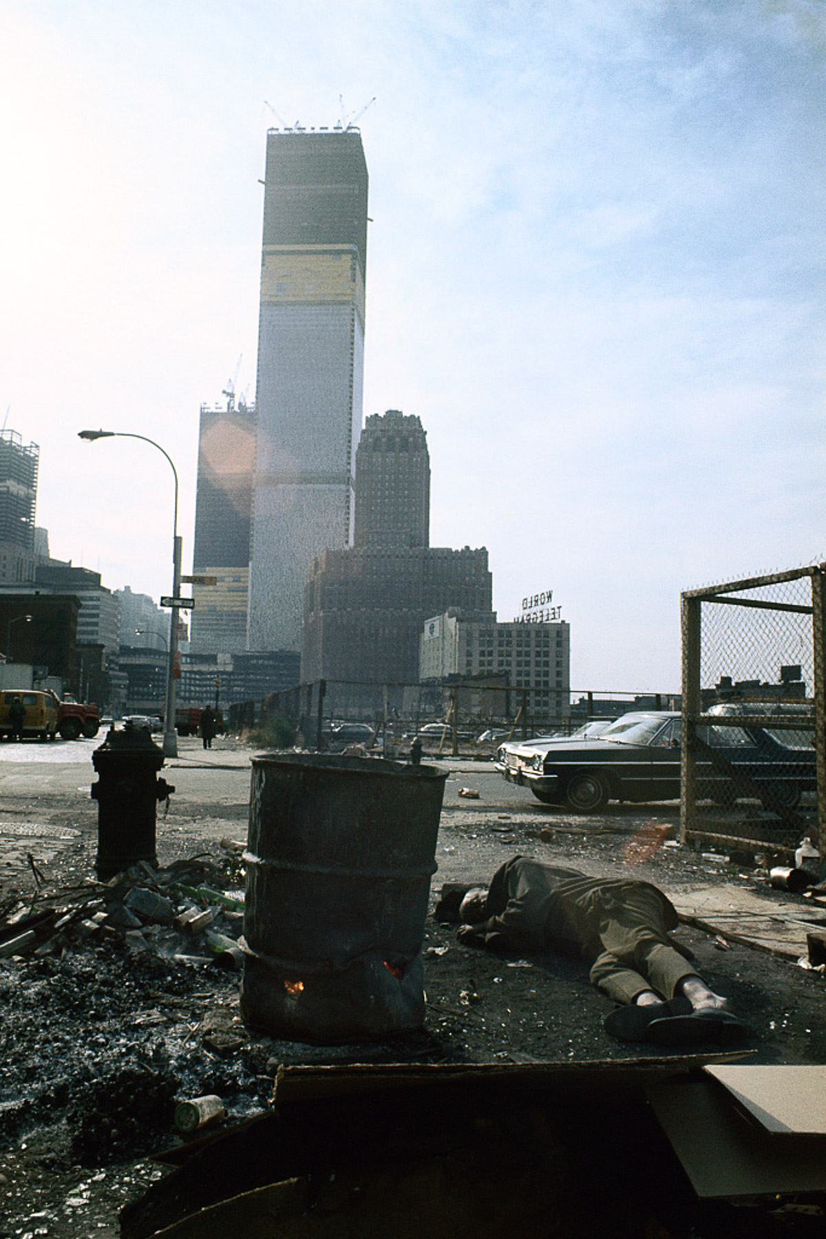 1970 %22View of the World Trade Center under construction from Duane Street.%22
